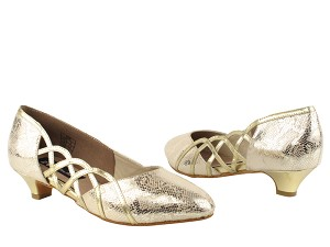 CD5501 Gold Leather Cuban Heel