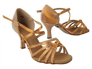 C6005XCC 153 Tan Satin with 3 inch Heel (6812) in the photo