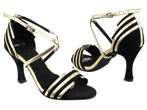 SERA1700 Black Suede & Light Gold Trim