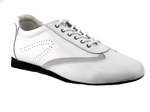 SERO104 White Leather with flat heel in the photo